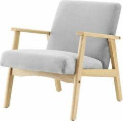 Andere TULIO Scandinavische fauteuil - Grijze stof en massief hout - B 63 x D 78 x H 75 cm