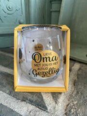 Gouden Creaties van hier Wijn - water glas / Lieve oma met jou is het altijd gezellig / wijnglas / waterglas / leuke tekst / moederdag / vaderdag / verjaardag / cadeau