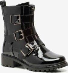 Blue Box dames lak biker boots - Zwart - Maat 40