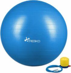 Tresko Fitnessbal met pomp - diameter 55 cm - Blauw