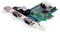Groene StarTech.com 2-poort Native PCI Express RS232 Seriële Kaart met 16550 UART interfacekaart/-adapter