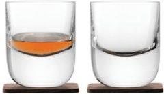 Transparante Lsa L.S.A. Whiskyglazen Renfrew - Set van 2 stuks - 270 ml - Incl. Walnoten onderzetters
