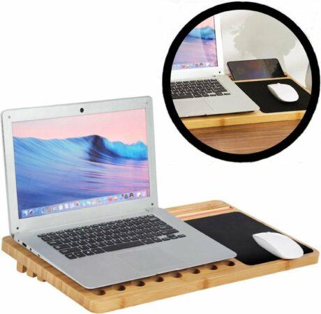 Afbeelding van Naturelkleurige Laptop standaard van Bamboe hout - Groot 60 cm - Houten laptopstandaard - Laptop verhoger / verhoging voor bureau - Laptoptafel Schoot - Schoottafel - Bedtafel - Knietafel - Decopatent®