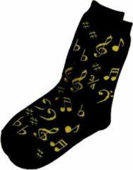 AIM Damessokken muzieknoten in de kleur zwart/goud
