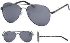 Merkloos / Sans marque Aviator zonnebril camouflage print met zwarte glazen voor volwassenen - Piloten zonnebrillen dames/heren