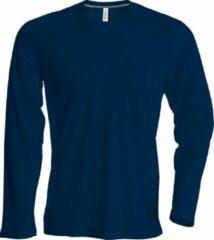 Marineblauwe Kariban Heren Slim Fit Lange Mouw Crew T-Shirt Hals (Marine)