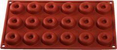 Bruine Siliconen bakvorm mini donut - Decora