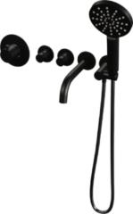 Brauer ColdStart Black Edition Badrand kraan inbouw met 2 stopkranen, baduitloop en abs 3 standen handdouche matzwart
