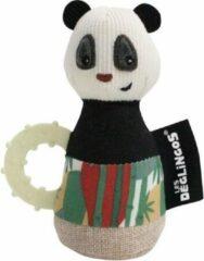 Les Deglingos Rammelaar Panda Wit/zwart 18 Cm