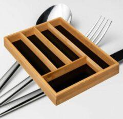 Decopatent® Bamboe Bestekbak 5 Vaks - Besteklade Organizer Zwarte Inleg - Bestek Opbergen - Bestekcassette - Hout - 25x34x4.3 Cm