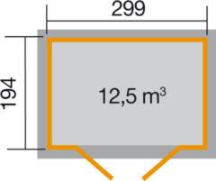 WEKA   Tuinhuis 323 Gr.3   299x194 cm   Gelakt