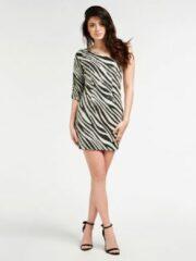 Witte Guess Dress Florence Pop Zebra Glow In Th