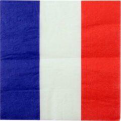 Santex 20x Frankrijk thema servetten 33 x 33 cm - Landen thema tafeldecoratie versieringen - Papieren servetjes