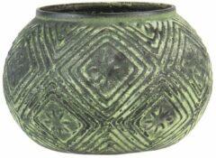 Clayre & Eef Theelichthouder 6GL3215 Ø 12*9 cm Groen, Zwart Glas Rond Waxinelichthouder Windlichthouder