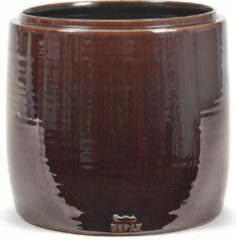 Donkerbruine Serax Tabor sierpot L van keramiek 27 cm
