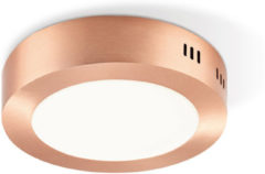 Light Depot - LED Plafondlamp Ska - Rond - Ø 17 cm - Koper Metaal