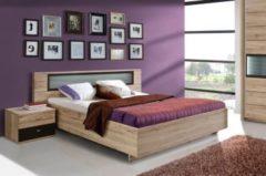 Bett 180 x 200 cm Sandeiche mit Beleuchtung FORTE MÖBEL Celano