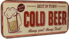 """Rode Trendybywave Vintage Wandbord - """"Cold Beer """" - Tinnen wandplaat - 46 cm hoog"""