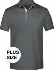 James & Nicholson Grote maten polo shirt Golf Pro premium grijs/wit voor heren - Grijze plus size herenkleding - Werk/zakelijke polo t-shirts 3XL