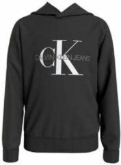Antraciet-grijze CALVIN KLEIN JEANS hoodie van biologisch katoen zwart/wit/antraciet