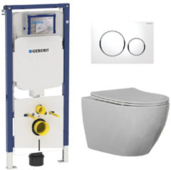 Douche Concurrent Geberit UP720 Toiletset - Inbouw WC Hangtoilet Wandcloset Rimfree - Beauti Flatline Sigma-20 Wit