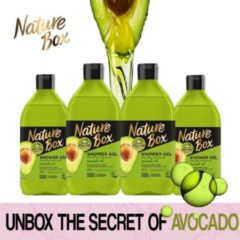 Nature Box Shower Gel 100% Geperst Avocado Olie - 4 x 385 ml - Voordeel Box