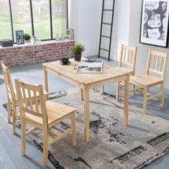 Wohnling Esszimmer-Set EMIL 5 teilig Kiefer-Holz Landhaus-Stil 108 x 73 x 65 cm Natur Essgruppe 1 Tisch 4 Stühle Tischgruppe Esstischset 4 Personen