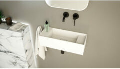 Ideavit SolidBliss Wastafel 55x22x15cm 0 kraangaten Solid surface mat wit Solidbliss-55