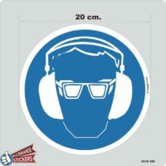 Blauwe Allerhande Stickers Veiligheidsbril en Gehoorbescherming verplicht pictogram sticker 20 cm.