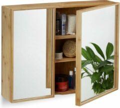 Naturelkleurige Relaxdays spiegelkast badkamer - twee deuren - spiegel - bamboe - badkamerkast - hangkast