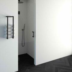 Saniclass Create douchedeur 60x200cm profielloos met antikalk en 8mm veiligheidsglas zwart mat 4JC13-60a