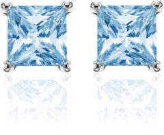 New Bling 9NB-0029 - Zilveren oorstekers - zirkonia vierkant 8 mm - zilverkleurig / blauw