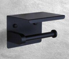 GDRN Toiletrolhouder met Telefoonplankje - WC rolhouder zwart - WCrol houder mat Zwart - RVS