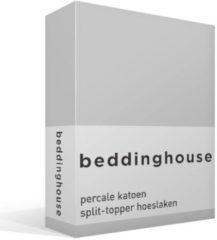 Beddinghouse percale katoen split-topper hoeslaken - 100% percale katoen - Lits-jumeaux (180x200 cm) - Light grey
