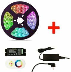 Zwarte Groenovatie RGB LED Strip Set - 5 Meter - 14.4 Watt/meter - Waterdicht IP65 - Met Adapter & Touch Afstandsbediening