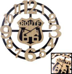 XL Grote 60 Cm. Ronde Houten Wandklok ROUTE 66 - Wand Klok USA Modern / Retro / Vintage / Mancave - Wandklok Route 66 - Wandklokken Rond - Keukenklok - Muurklok Wand Klok - Hout / Zwart - Afm. 60 x 60 Cm - Decopatent®