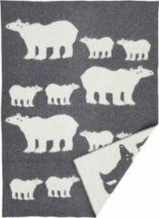 Donkergrijze Klippan Ijsbeer plaid van lamswol 180 x 130 cm