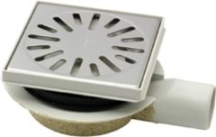 Zilveren Tegeldepot Doucheput Aquaberg ABS Vloerput ABS Opzetstuk Bezand RVS Rooster Zijuitlaat 50mm Verstelbaar 146x146mm PPC Reukafsluiter Reukslot 32mm