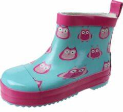 Playshoes halfhoge regenlaarzen aquablauw uiltje