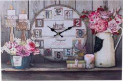 XL Canvas Schilderij Wandklok PARIS & FLOWERS met Klok - Wand Klok Landelijk / Brocante - Canvasklok - Canvas Wandklokken met Klok - Keukenklok - Muurklok Wand Klok - Afm. 60 x 40 Cm - Decopatent®
