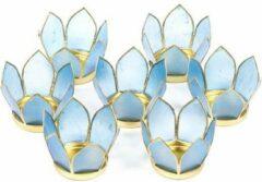 Yogi & Yogini Lotus sfeerlicht Blauw Goudrand (Klein – Set van 7)