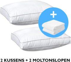 Witte ISleep OrthoMedic Box Hoofdkussen Set (2 Stuks) - 50x60x10 (+2 Walra moltonslopen)