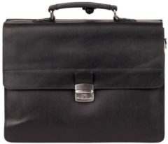 Zwarte Burkely Dean Vintage Aktetas 3-vaks 637922 Black