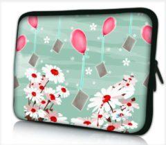 Blauwe False Laptophoes 13,3 inch bloemen en ballonnen - Sleevy - Laptop sleeve - Macbook hoes - beschermhoes