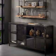 Grijze Fraaai® dressoir Evan - kast - industrieel - glas - metaal - staal - 180 cm - met deuren