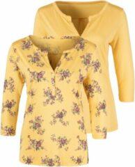 Gele Lascana shirt met 3/4-mouwen