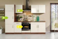 HELD Möbel Küchenzeile Nevada 270 cm Hochglanz creme - inkl. E-Geräte