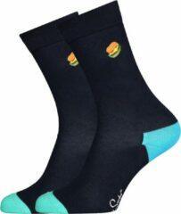 Happy Socks - Embroidery Burger Sock - Multifunctionele sokken maat 41-46, zwart