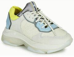 Bronx Baisley leren chunky sneakers wit/blauw/geel