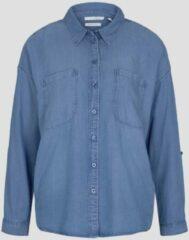 Donkerblauwe Tom Tailor blouse met plooien blauw denim